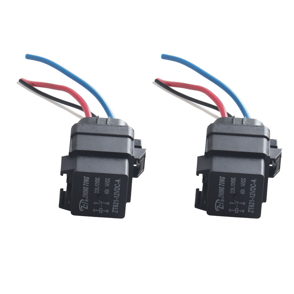 Ee Support 2pcs Black Car Truck Dc 12v 40a Spst Relay Socket Plug Dpdt Wiring 4pin 4 Wire Waterproof Styling Xy01