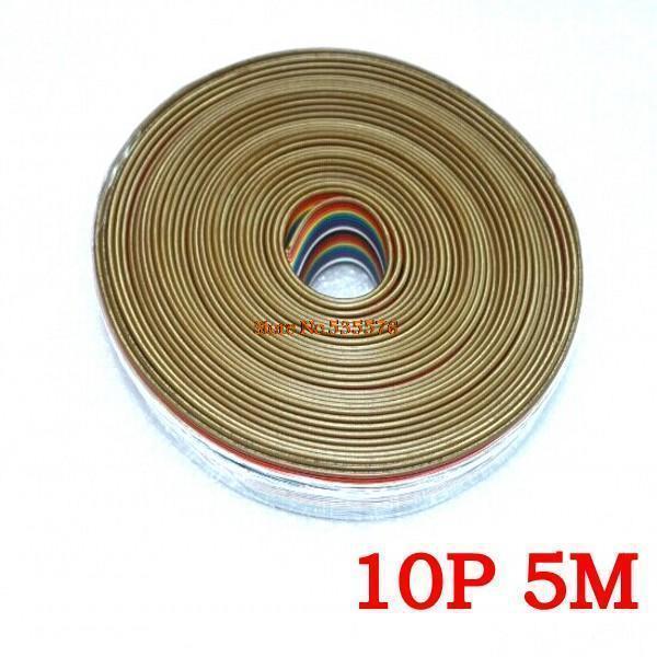 ribbon cable 10 WAY Flat Color Rainbow Ribbon Cable wire Rainbow Cable 10P ribbon cable 1.27MM pitch 5meters/lot IN STOCK