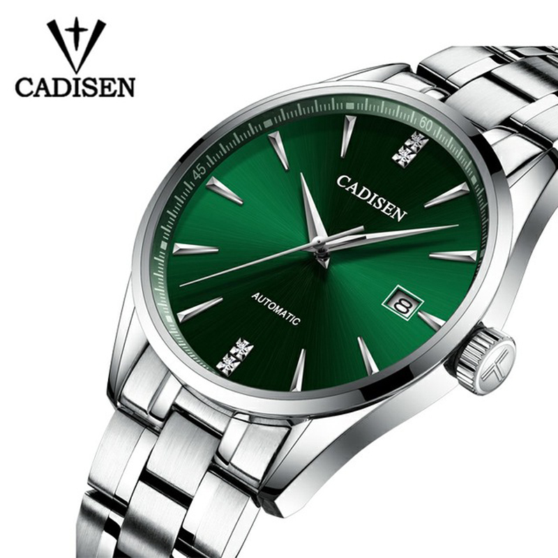 Genuine CADISEN Top Brand Luxury Men Full Steel Automatic Mechanical Male Self-Wind 50M Waterproof cruve surface Ultrathin Watch