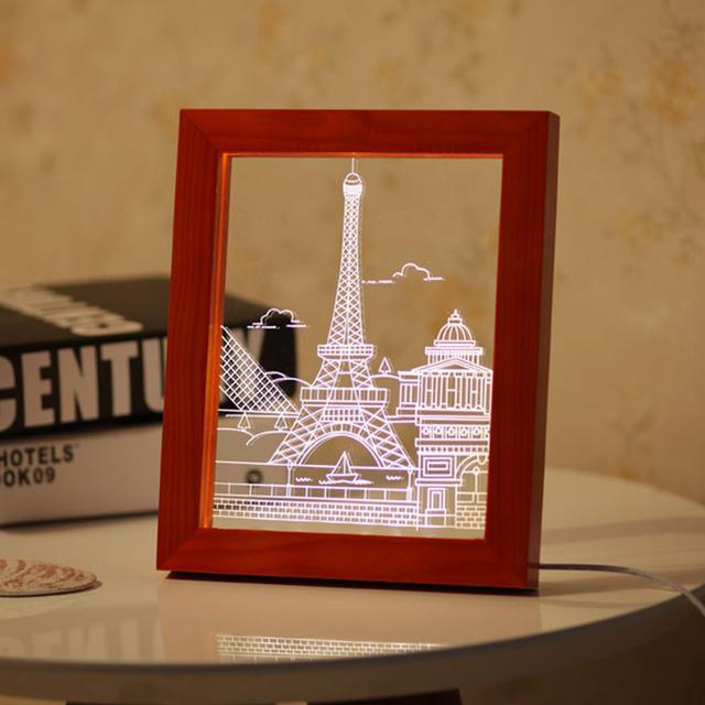 3D LED Light Paris Madeira Picture Frame Decoração do Quarto da Lâmpada de Mesa USB Luzes Da Noite