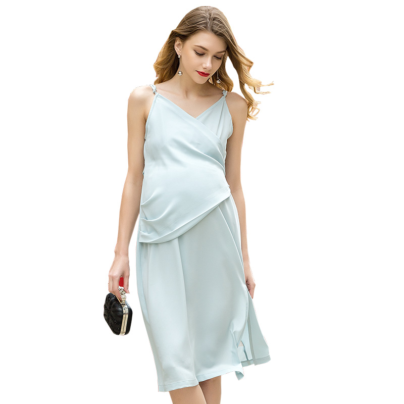 Loveincolors Maternity Women Dress Braces Chiffon Sleeveless Sexy Pure Color Nursing Pregnant Clothes