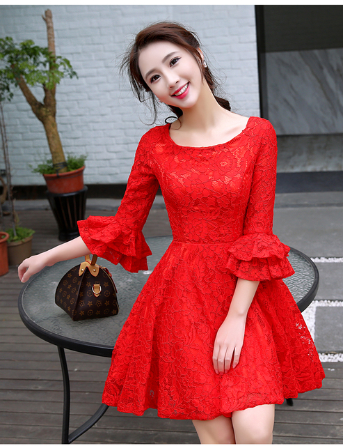 c112edc513 Cute Red Lace Graduation Dresses 2019 Cheap Short Prom Dress With Lantern  Half Sleeves Homecoming Dresses Cocktail Party Gowns