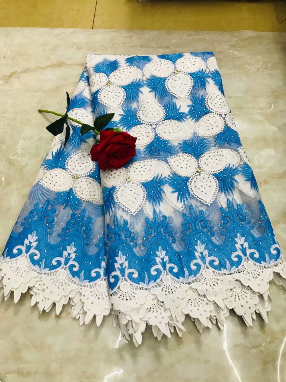 2019 Nigerian Tulle Lace Fabric Fast Shipping African Lace Fabric For Wedding Blue Embroidery Gold Ling Lace Fabric2019 Nigerian Tulle Lace Fabric Fast Shipping African Lace Fabric For Wedding Blue Embroidery Gold Ling Lace Fabric