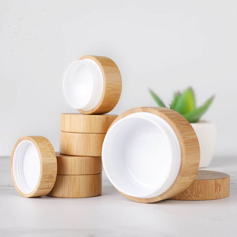 Bamboo Bottle Cream-Jar Storage-Box Makeup-Container Refillable Nail-Art-Mask Cosmetic