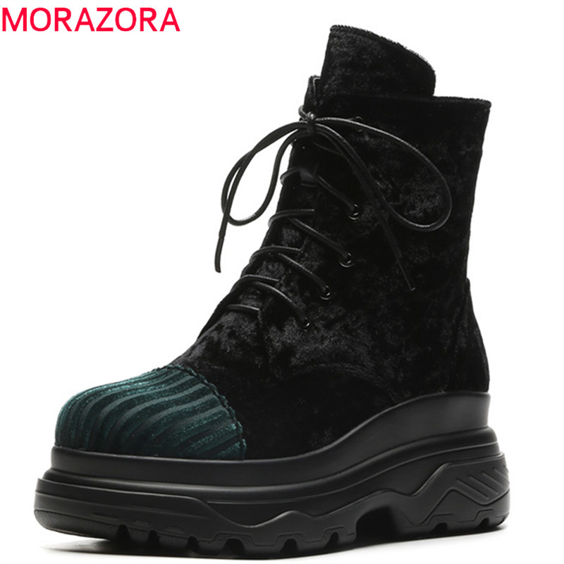 MORAZORA 2018 new arrival autumn winter ankle boots women mixed colors quality platform boots woman lace up zip punk shoes  MORAZORA 2018 new arrival autumn winter ankle boots women mixed colors quality platform boots woman lace up zip punk shoes