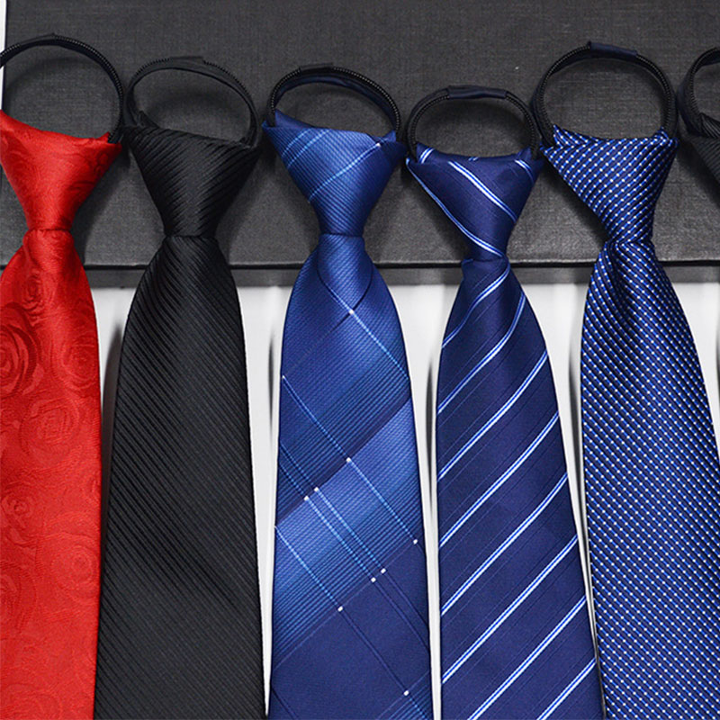Men Zipper Tie Lazy Ties Fashion 8cm Business Necktie For Man Skinny Slim Narrow Bridegroom Party Dress Wedding Necktie Present