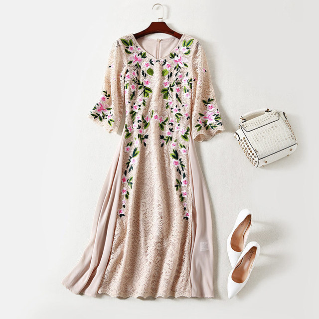 Elegant Floral Embroidery Midi Lace Party Dress