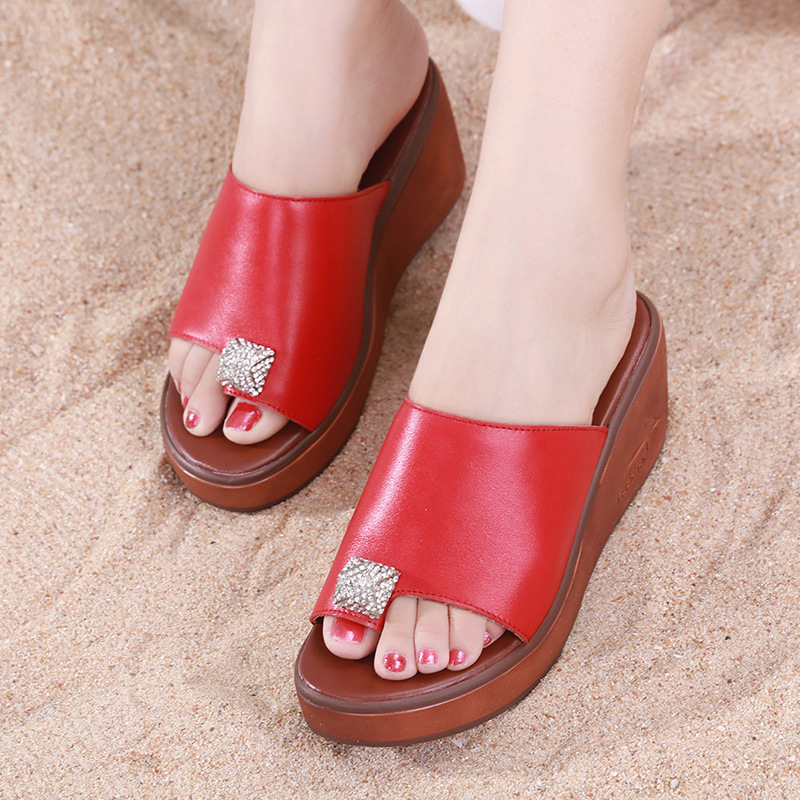 2018 Size 33 43 Summer Women Genuine Leather Platform Shoes Wedges Heels Crystal Slippers Thick Sole Sandals Woman Flip Flops