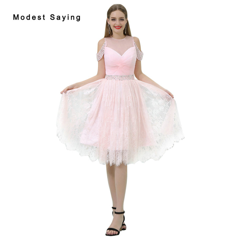 Wholesale Elegant Pink Beaded Lace   Cocktail     Dresses   2017 Girls Formal Knee Length Homecoming Prom Gown vestidos de coctel B023