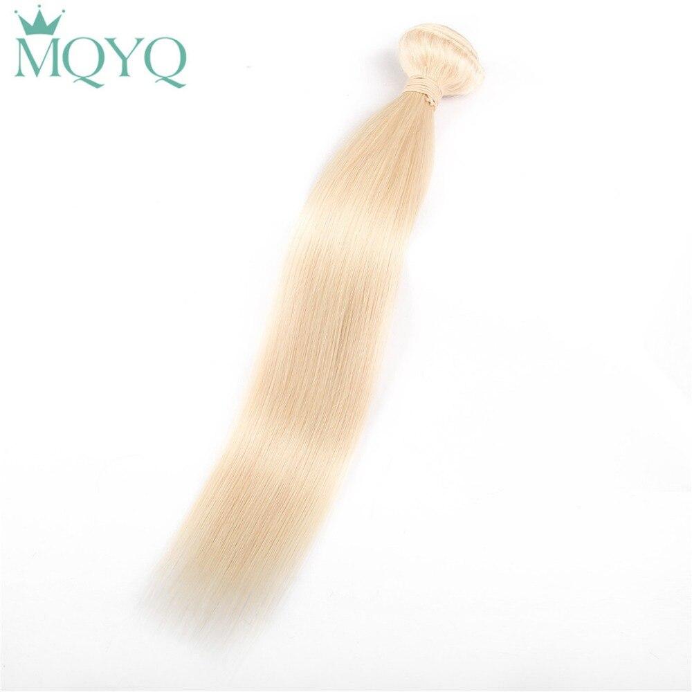 MQYQ Brazilian Blonde #613 Straight Hair 100% Human Hair Weaving 10'' 24''Inches One Platinum Bundles Remy Hair Extensions