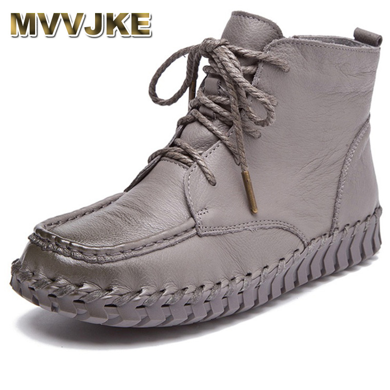 MVVJKE New Design Genuine Leather Ankle Boots For Women Vintage Casual Shoes Handmade Cowhide Soft Flat Short Boots Women bore 40mm 275mm stroke ma series stainless steel double action type pneumatic cylinder air cylinder