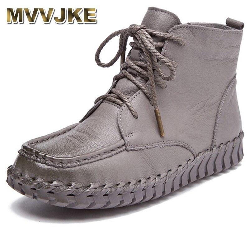 MVVJKE nowy projekt buty do kostki ze skóry naturalnej dla kobiet w stylu Vintage buty w stylu casual ręcznie skóry wołowej miękkie płaskie krótkie buty kobiet w Buty do kostki od Buty na  Grupa 1