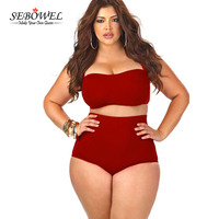 2016 Newest High Waisted Plus Size Bikini Set Women Retro Bandage Swimwear Strappy Bra Halter Sexy