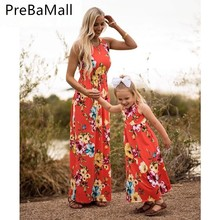 Fashion Mother Daughter Dresses Family Matching Clothes Casual Summer Floral Beach Dress Elegant Playa Vestidos C60