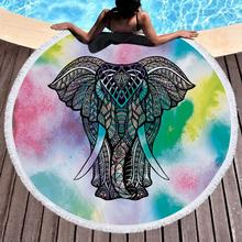 Customize Beach Towel Round Microfiber/Polyester Elephant Printing Tassel Soft Swimming 150*150cm Drop Shipping