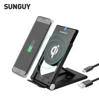 SUNGUY Wireless Charger Portable Folding Charging Stand Universal Qi Wireless Charger For Samsung S7 Wireless Charging