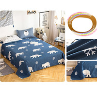 Solid Color Full Queen King Size Navy Blue Bed Skirt Reactive Print Linen Skirts Bedroom Bed Sheet Bedspread