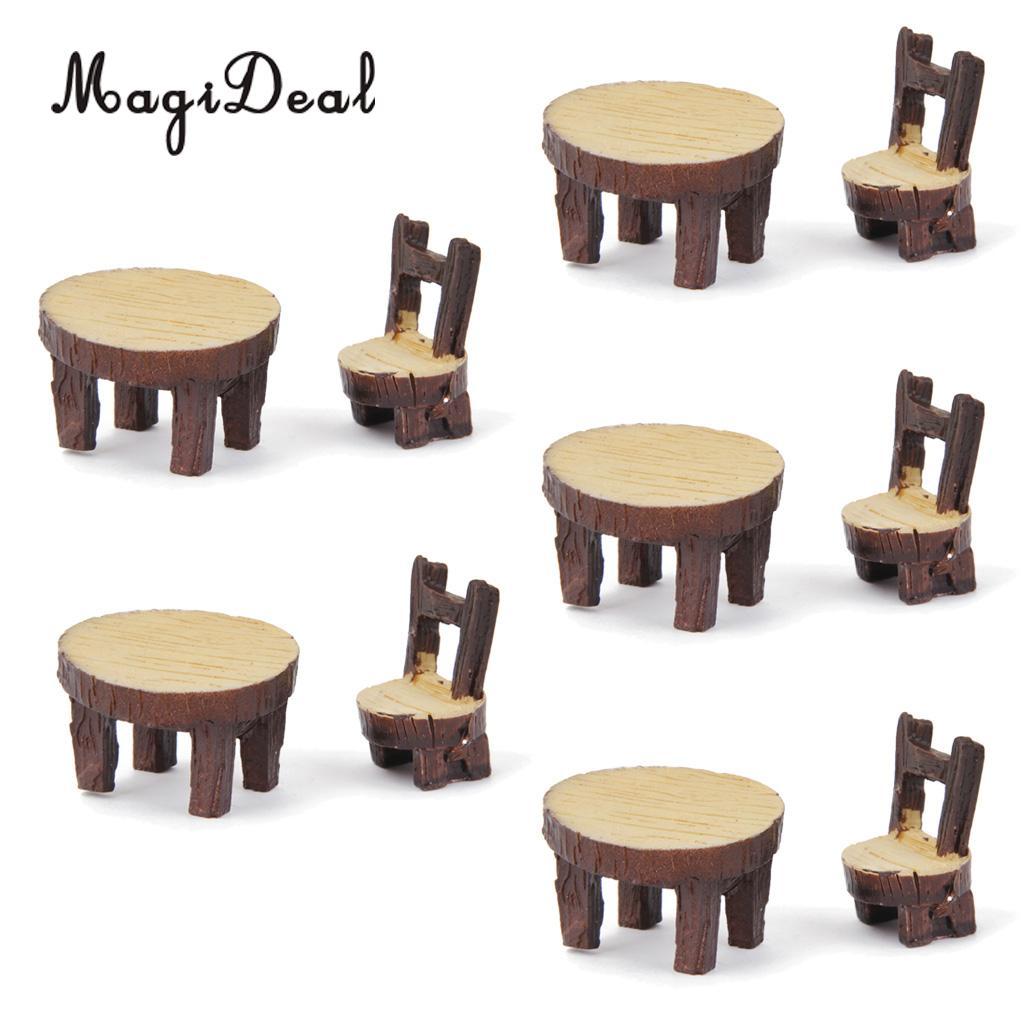 MagiDeal 5Pcs European Villa Chair Table Miniature Bonsai Craft Fairy Garden Landscape DIY Moss Terrariums Ornament