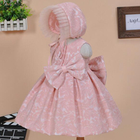 Infant Baby Girl Birthday Party Dresses Baptism Christening Wedding Gown Princess Lace Flower Dress With Hat