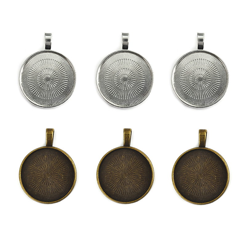 20Pcs/lot Pendant Cabochon Setting 25mm Flat Round Bezel Gem Blank Base Silver Plated Jewelry Making DIY Necklace Components