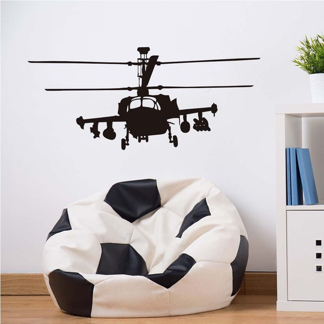 Huge Helicopter Silhouette Wall Art Bedroom Mural Transfer Decal Vinyl Wall  Art Decals Decorative Military Style