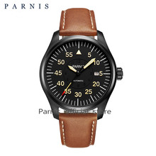 New 44mm Parnis Watch Men Sport Automatic Mechanical Wristwatch Black Pvd Case luminous Yellow Number Army Military Watches