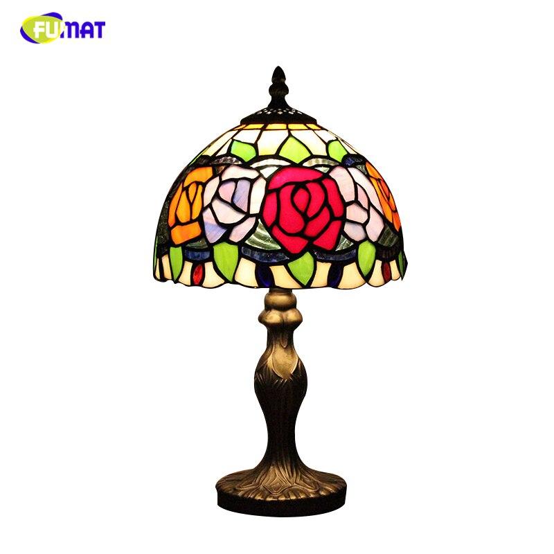 Фумат Европейская Роза абажурная настольная лампа Витражная Лампа для прикроватной тумбочки пасторальный гостиная кофе бар свадьба насто