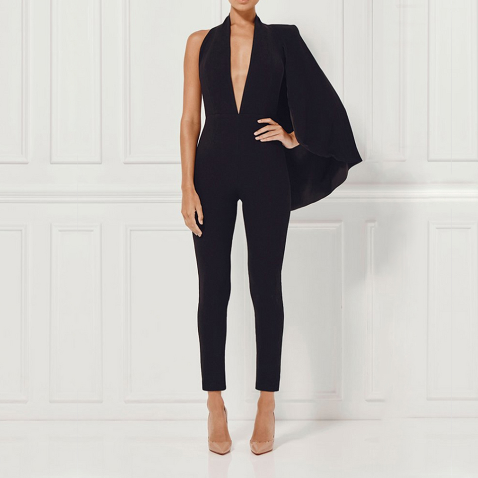 Adyce Celebrity Runway Jumpsuit Women 2018 Black Deep V-Neck Halter Half Batwing Sleeve Rompers Jumpsuit Sexy Bodycon Bodysuits