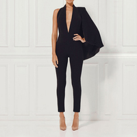 Adyce Celebrity Runway Jumpsuit Women 2019 Black Deep V Neck Halter Half Batwing Sleeve Rompers Jumpsuit Sexy Bodycon Bodysuits