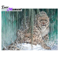 Ever Moment Diamond Painting Leopard Snow Full Square Decoration For Home Picture Of Rhinestone Mosaic Diamond Embroidery 3F1010