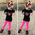 Summer Fashion Children Sets Girls Lip Eyelash Print Black T Shirt & Red Pants Trousers 2pcs Kids Clothes Baby Kid Suits