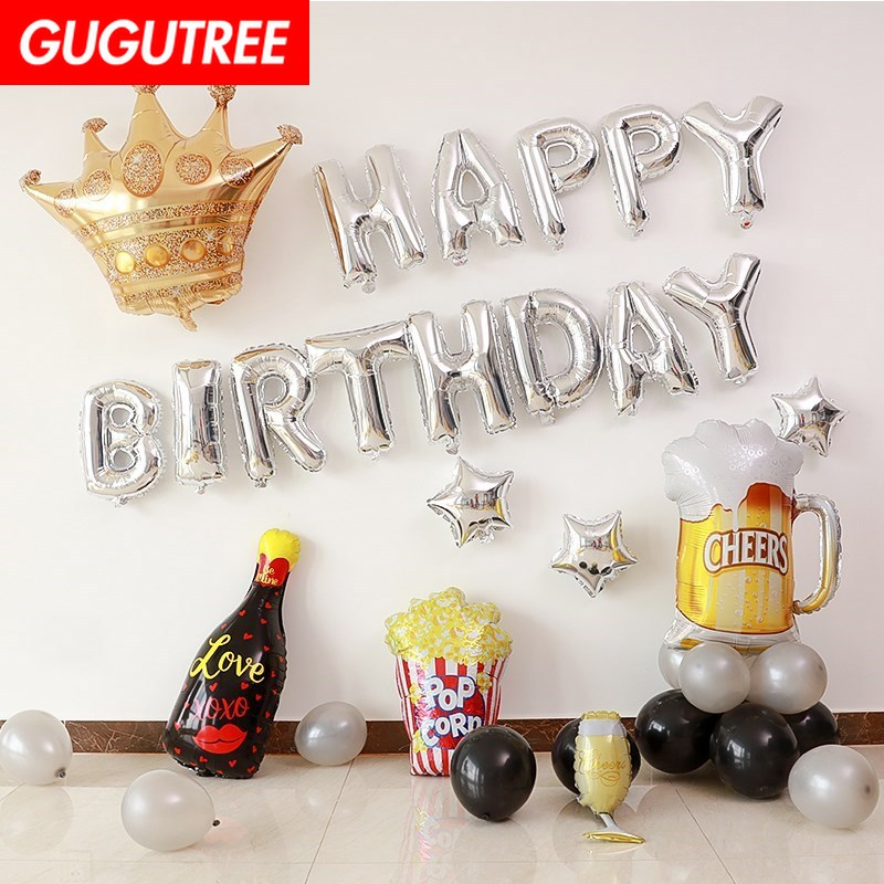 happy birthday balloons for party Decoration crown foil balloons Banners decoration PD 42 in Party DIY Decorations from Home Garden