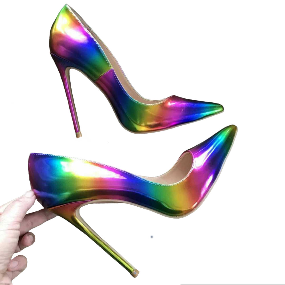 Free Shipping Real Pictures Colorful Rainbow Fingertip Woman Lady Female 12cm 10cm 8cm High Heels Shoes Pum ...