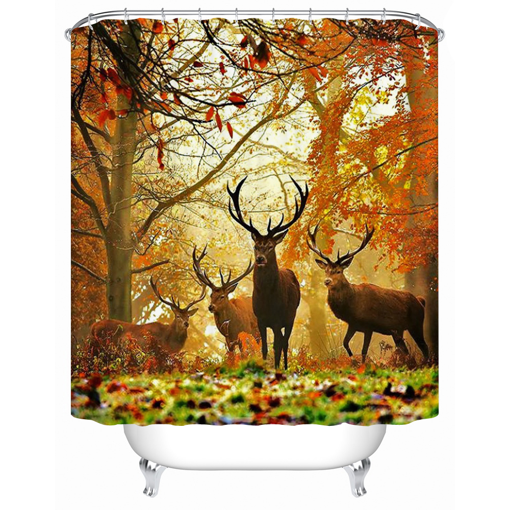 Deer bathroom accessories - 2016 New High Quality Waterproof Bathroom Products Shower Curtains Bathroom Curtain Deer Acceptable Personalized Custom