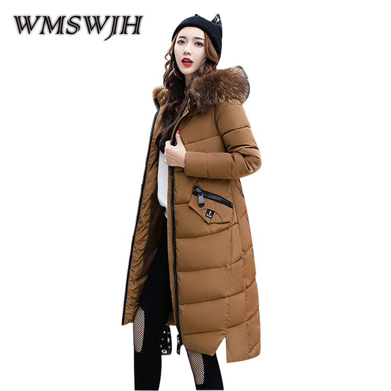 Winter New Women Cotton-padded clothes Fashion Big Fur Collar Hooded Mid Long Section feather cotton Leisure Thick Cotton Coat 2017 winter new clothes to overcome the coat of women in the long reed rabbit hair fur fur coat fox raccoon fur collar
