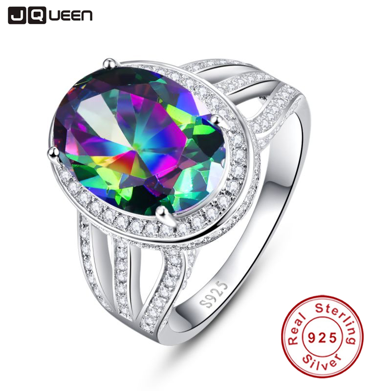 10.2ct Oval Natural Stone Rainbow Fire Mystic Topaz Cocktail Ring For Women Pure 925 Sterling Silver Jewelry Fine Ring jewelrypalace 28ct natural fire rainbow mystic topaz bracelet tennis for women gift love pure 925 sterling silver fine jewelry