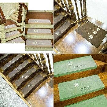 Esteras de pisadas para escalera autoadhesivas antideslizantes, 13 Uds., cubierta para alfombra...