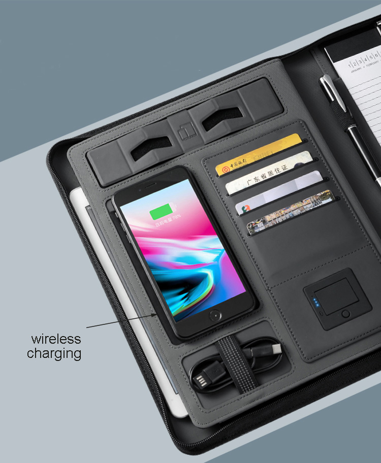 trends A4 size travel notebook composition book business manager bag file folder with wireless power charger mobile bag holder