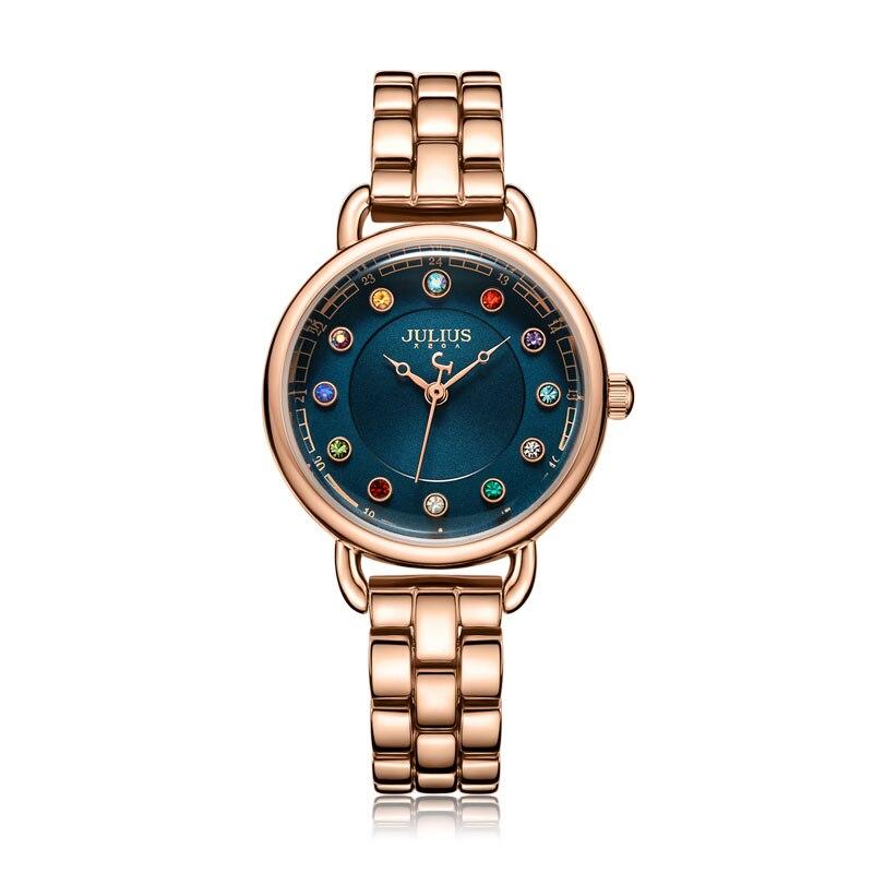 Julius Watch Retro Women Watch Colorful Crystal Dial Casual Bracelet Watch Bohemia Stylish Women Watches Gold Luxury JA-1088