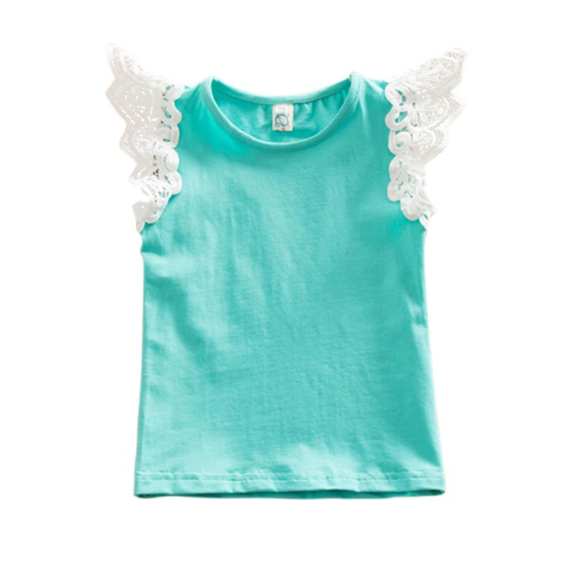 New Design Lace Flying Sleeve Girl Vest T-shirt Toddler Cute Outfits Summer Baby Kids Clothes DH