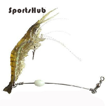 10cm 6g luminous soft natural shrimp with hook and beans bait fishing lure free shipping