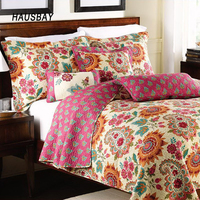 Handmade Patchwork Quilt Set 3PCS Washable Bedspread Cotton Aircondition Quilts Thick Bed Cover King Queen Size Coverlet QT001