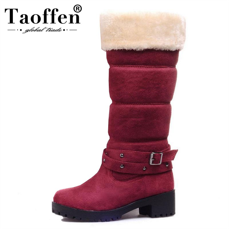 TAOFFEN Women Half Short Boots Square Heels Winter Thicken Fur Warm Mid Calf Boot Bota Feminina Gladiator Botas Shoes Size 34-43