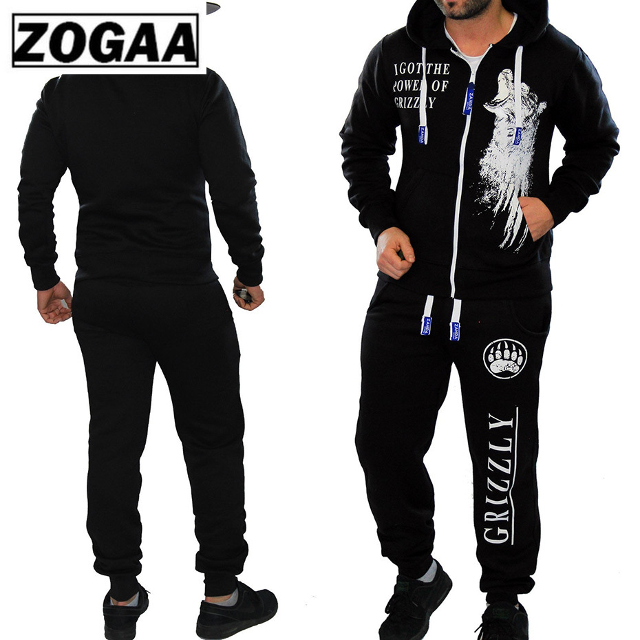 2 Pieces Long Sleeve Hoodies Pants Set ZOGAA 2019 Male Tracksuit Outdoors Suit Men's Gyms Set Casual Sportswear Suit Plus Size