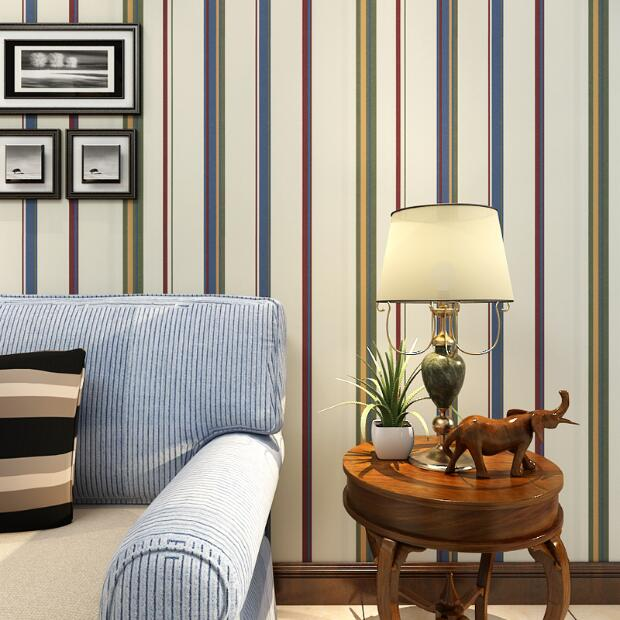 new wall paper streifen tapete gestreiften beflockung schlafzimmer oder wohnzimmer oder tv hintergrund wand beige grau - Tv Grau Beige