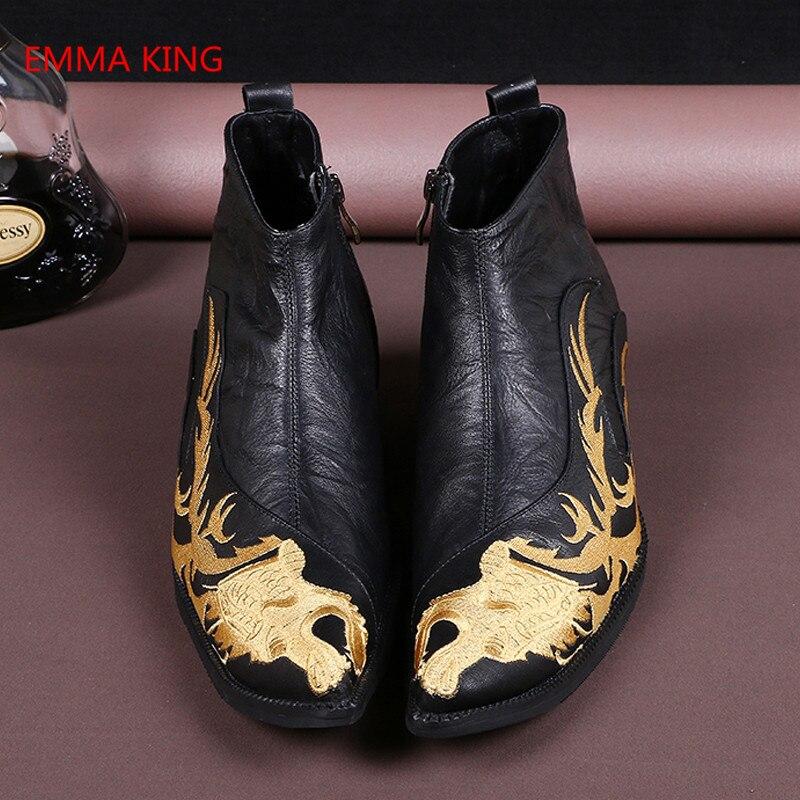 As Noiva Bordados Homem Martin Prova Condução Couro Mão À Negócios Outono De Boots In Homens Feitos Shown Vestido D' Ankle Picture Sapatos Botas Inverno Água rr1nAwHqx
