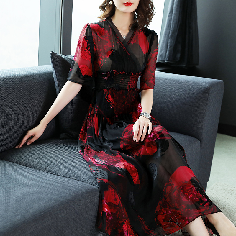 Vintage Élégantes Mode Soie V Longue Kmetram My059 Femmes Robe Rouge 2018 D'été Pour Robes Black Les Dames Cou AwZqF