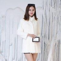 Real Mink Coat Female Female Winter Mink Grass Overcoats Long Neck Slim Hooded Fur Coat Fall