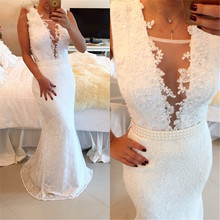 Arabian 2019 White Evening dresses Long Robe de soiree Arabic Deep V-Neck Appliques Lace Pearls dress for women