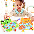 Baby Kids Wooden Toys Magnetic Fishing Game Jigsaw Puzzle Board 3D Jigsaw Puzzle Children Education Toy for Children
